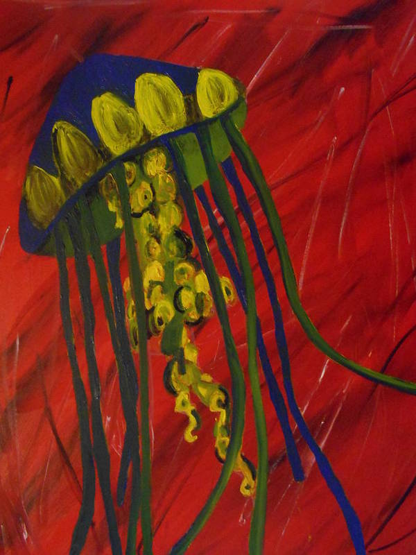 Jelly Poster featuring the painting Jellyfish by Faith Ohlinger
