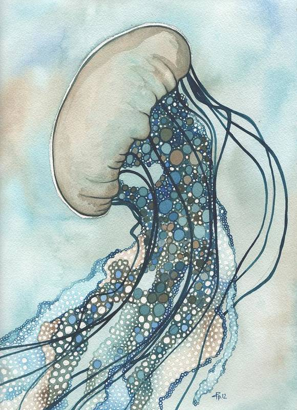 Marine Poster featuring the painting Jellyfish Two by Tamara Phillips
