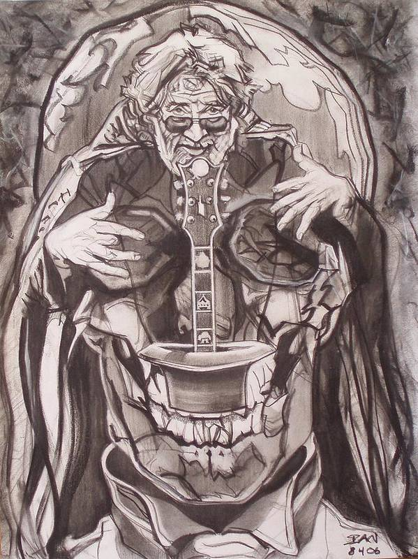 Charcoal; Skull;guitar;music;magic;mystic;wizard;cape;hat;shades;grateful Dead;deadheads Poster featuring the drawing Jerry Garcia . . Magic Is What We Do - Music Is How We Do It by Sean Connolly