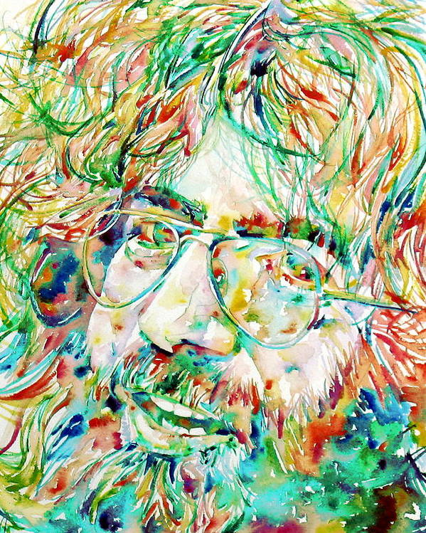 Jerry Poster featuring the painting Jerry Garcia Watercolor Portrait.1 by Fabrizio Cassetta