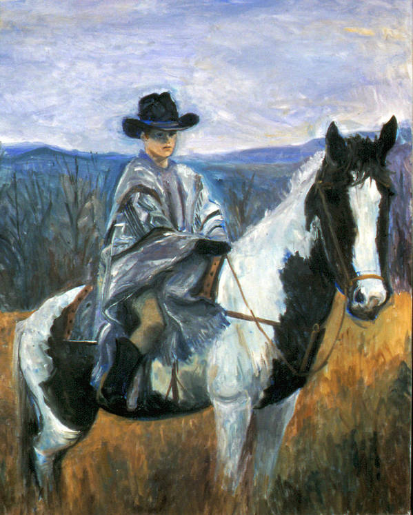 Boy On Horseback Poster featuring the painting Jesse On Dakota by Ethel Vrana
