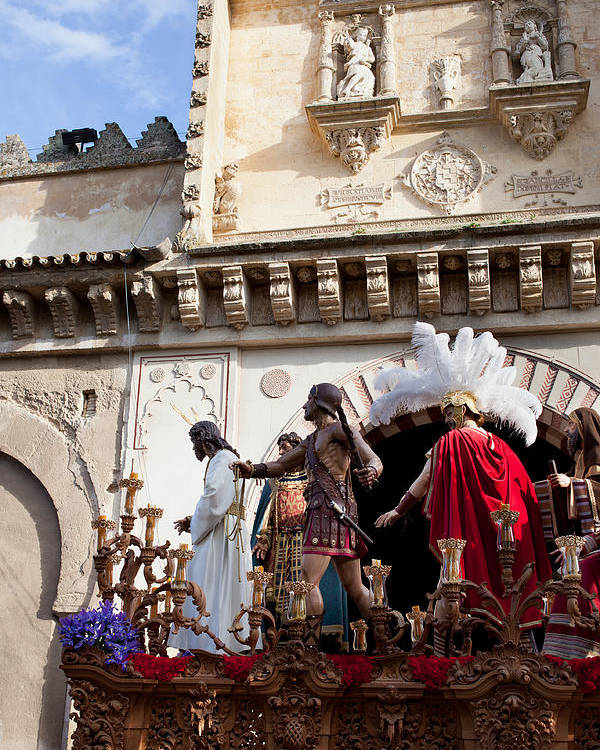Cordoba Poster featuring the photograph Jesus Christ And Roman Soldiers On Procession Platform by Artur Bogacki