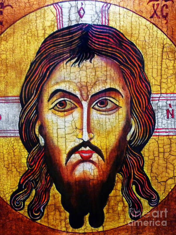 Jesus Christ Poster featuring the painting Jesus Christ Mandylion by Ryszard Sleczka