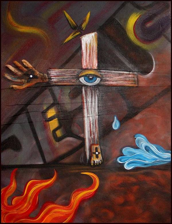 Abstract Poster featuring the painting Jesus by Laura Barbosa