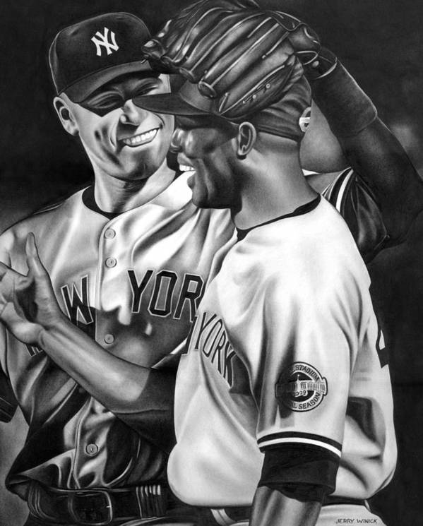 New York Yankees Poster featuring the drawing Jeter And Mariano by Jerry Winick