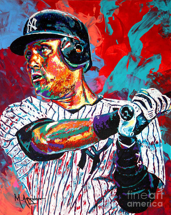 Derek Jeter Poster featuring the painting Jeter At Bat by Maria Arango