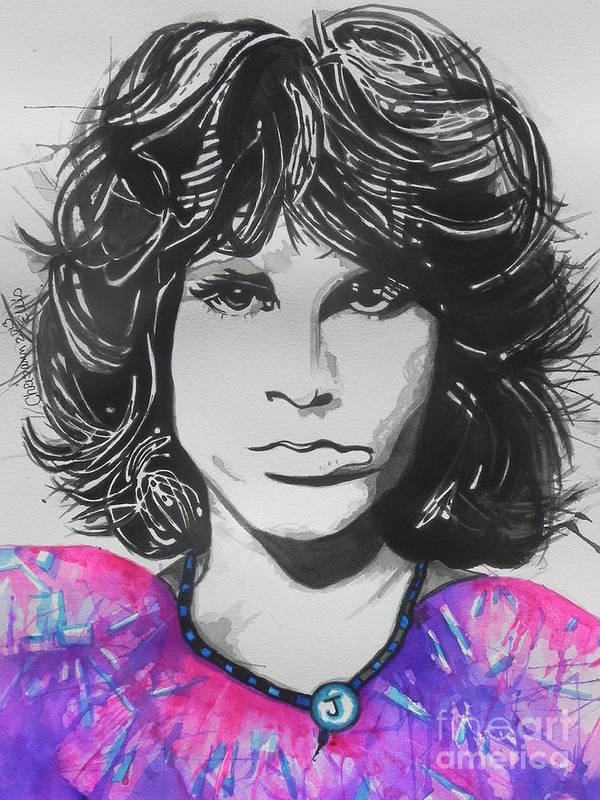 Watercolors Poster featuring the painting Jim Morrison by Chrisann Ellis