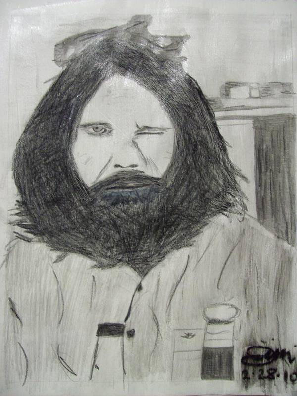Digital Art Poster featuring the drawing Jim Morrison Pencil by Jimi Bush