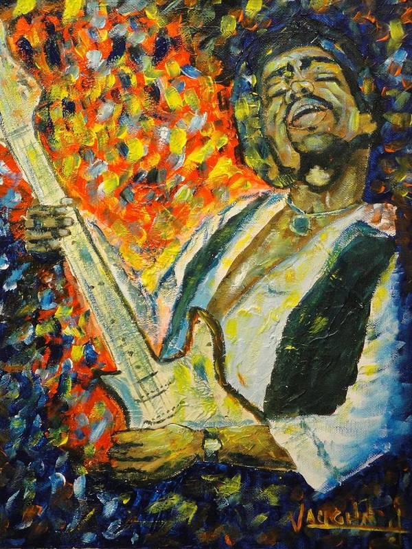 Jimi Hendrix Poster featuring the painting Jimi by Charles Vaughn