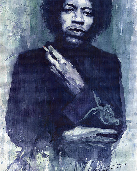 Watercolour Poster featuring the painting Jimi Hendrix 01 by Yuriy Shevchuk