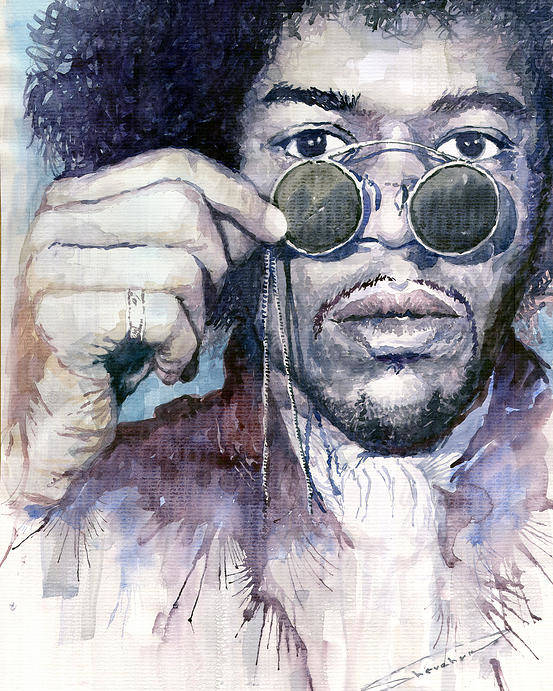 Watercolor Poster featuring the painting Jimi Hendrix 08 by Yuriy Shevchuk