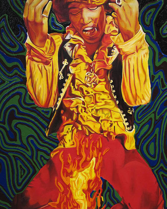Jimi Hendrix Poster featuring the painting Jimi Hendrix Fire by Joshua Morton