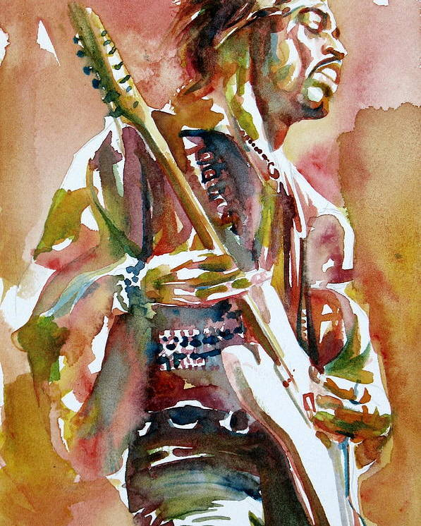 Jimi Poster featuring the painting Jimi Hendrix Playing The Guitar Portrait.3 by Fabrizio Cassetta