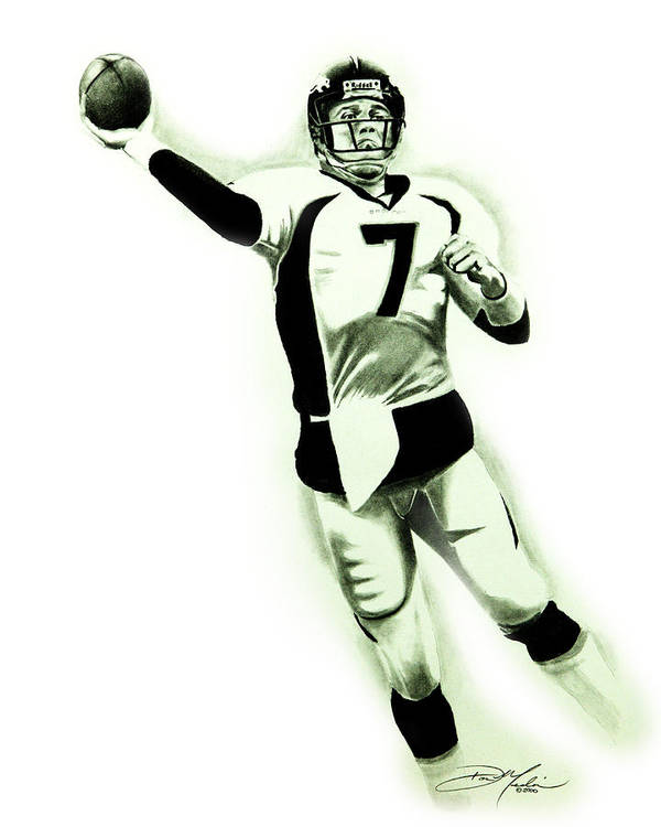 John Elway Poster featuring the drawing John Elway by Don Medina