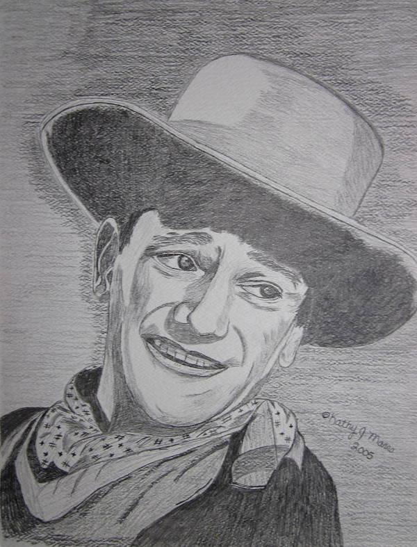John Wayne Poster featuring the painting John Wayne by Kathy Marrs Chandler