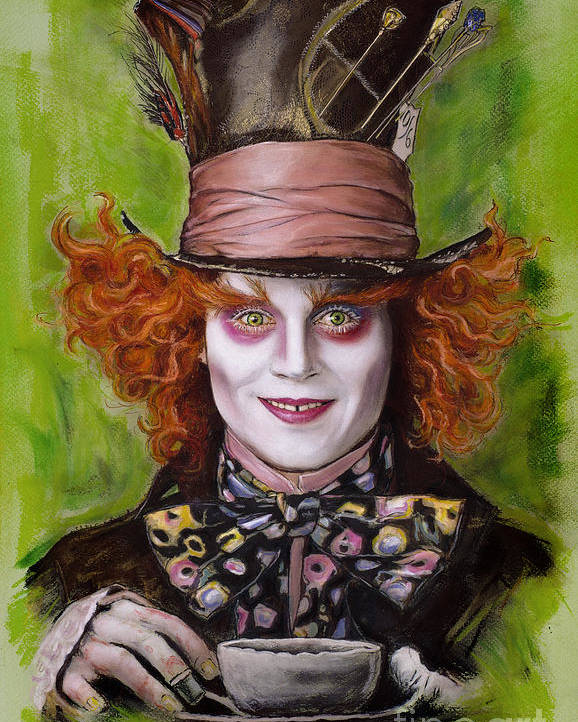 Johnny Depp Poster featuring the drawing Johnny Depp As Mad Hatter by Melanie D