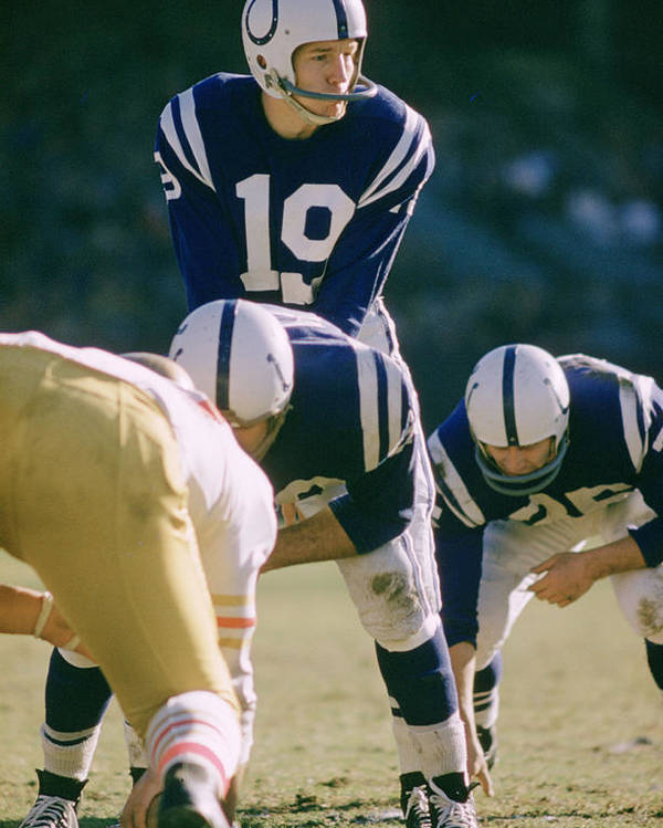 Marvin Newman Poster featuring the photograph Johnny Unitas Under Center by Retro Images Archive
