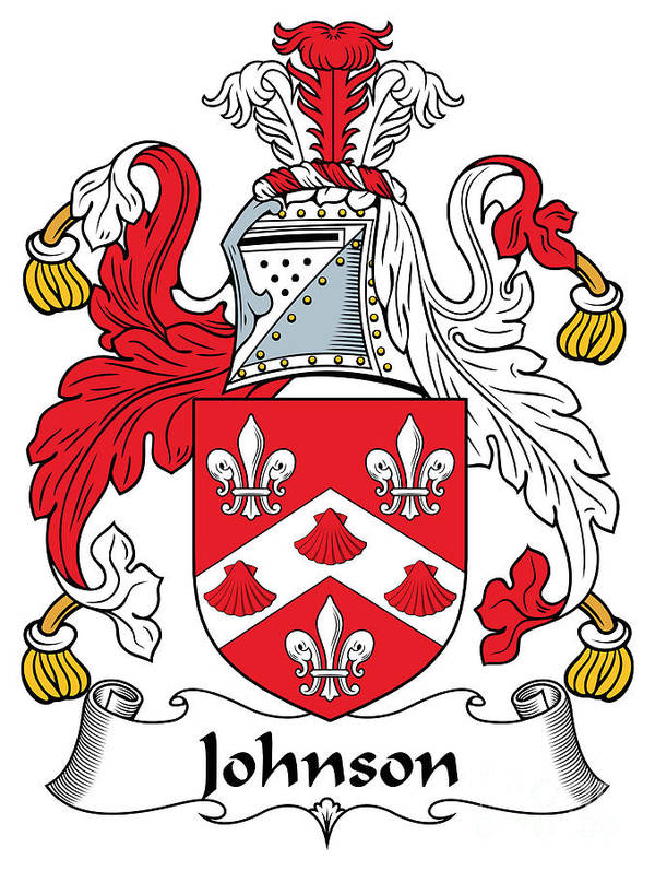 Johnson Poster featuring the digital art Johnson Coat Of Arms Irish by Heraldry