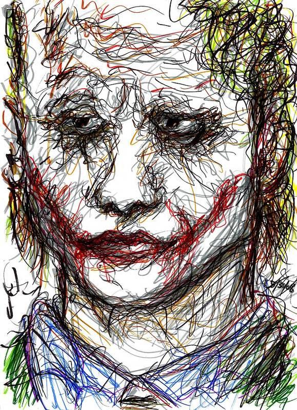 Joker Poster featuring the drawing Joker - Interrogation by Rachel Scott
