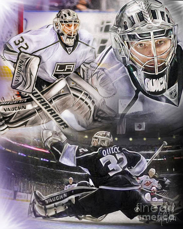 Jonathan Quick Poster featuring the painting Jonathan Quick Collage by Mike Oulton
