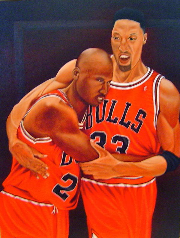 Michael Jordan Poster featuring the painting Jordan And Pippen by Yechiel Abramov