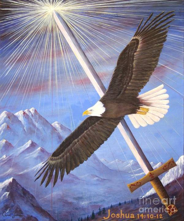 Eagle Poster featuring the painting Joshua 14 by Carol Jones