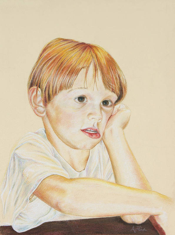 Boy Portrait Poster featuring the drawing Joshy by Arthur Fix