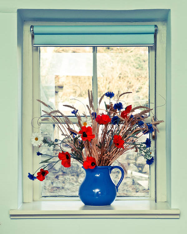 Beauty Poster featuring the photograph Jug Of Flowers by Tom Gowanlock