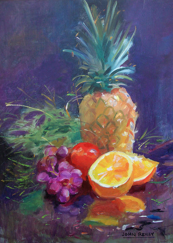 Still Life Poster featuring the painting Juicy Fruit by John Reilly