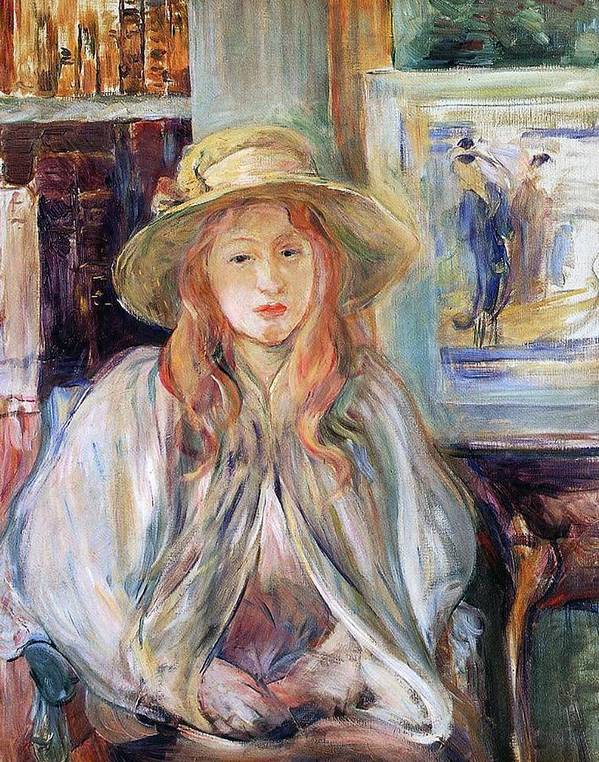 Female; Young Girl; Half Length; Seated; Impressionist; Interior; Domestic; Bookshelf; Shawl Poster featuring the painting Julie Manet With A Straw Hat by Berthe Morisot