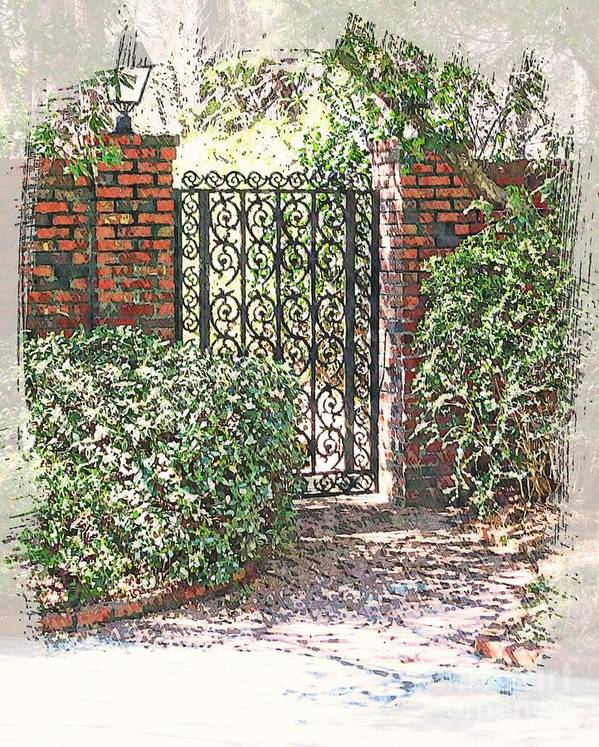 Suzannem73 Poster featuring the digital art Julie's Garden Gate by Suzanne Muldrow