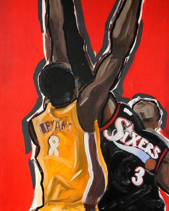 Basketball Poster featuring the painting Jumpball by Patrick Ficklin