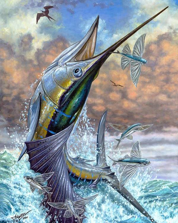 Flying Fishes Poster featuring the painting Jumping Sailfish And Flying Fishes by Terry Fox
