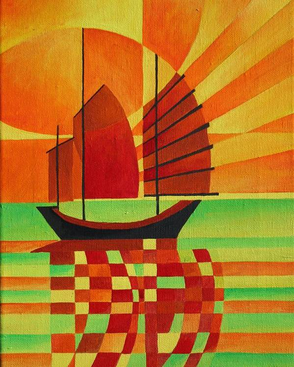 Sailboat Poster featuring the painting Junk On A Sea Of Green by Tracey Harrington-Simpson