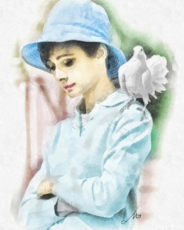 Audrey Poster featuring the painting Just Audrey by Mo T