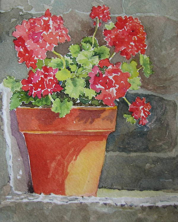 Claypots Poster featuring the painting Basking in the Sun by Mary Ellen Mueller Legault