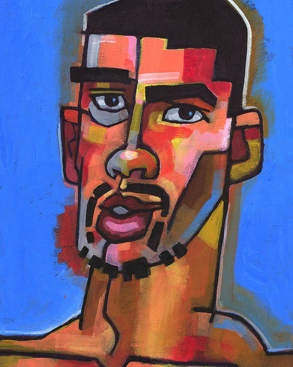 Expressionist Portrait Of Young Man With Facial Hair. Poster featuring the painting Just Turned 19 by Douglas Simonson
