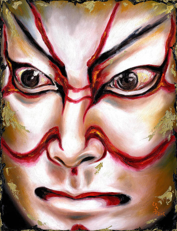 Kabuki Poster featuring the painting KABUKI one by Hiroko Sakai