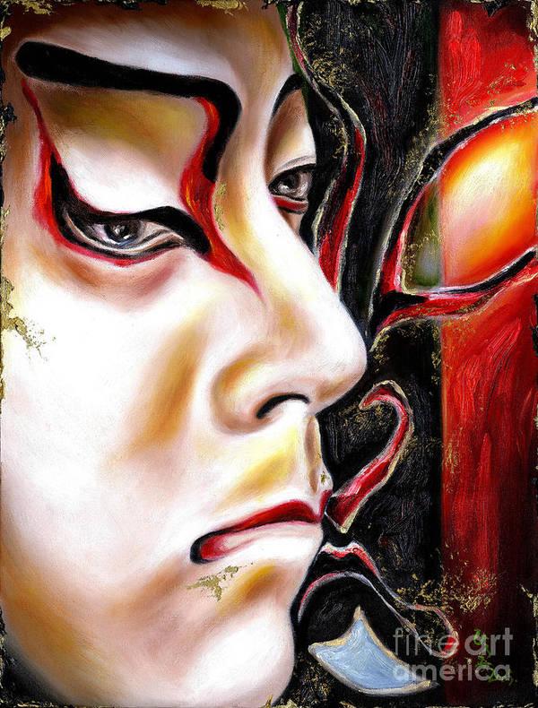 Kabuki Poster featuring the painting Kabuki Three by Hiroko Sakai
