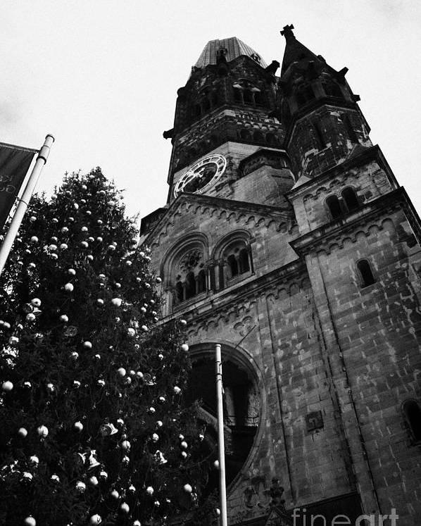 Berlin Poster featuring the photograph Kaiser Wilhelm Gedachtniskirche Memorial Church And Christmas Tree Berlin Germany by Joe Fox
