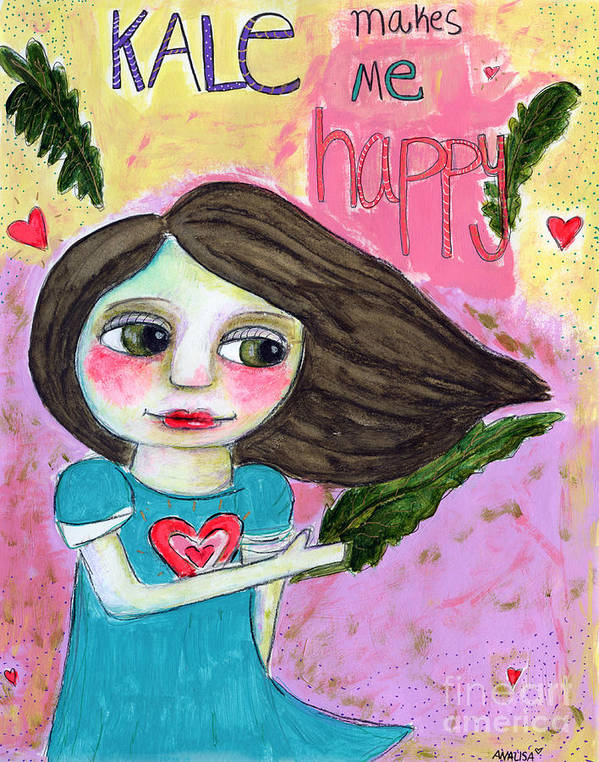 Girl Poster featuring the painting Kale Makes Me Happy by AnaLisa Rutstein
