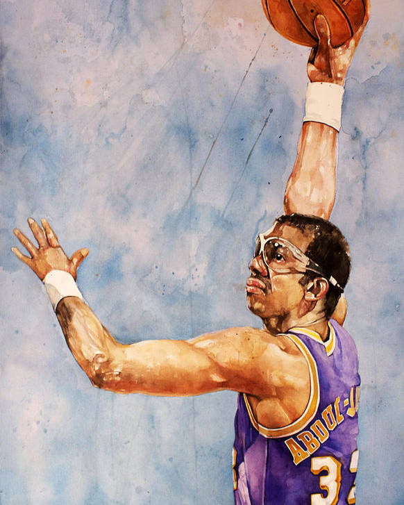 Lakers Poster featuring the painting Kareem Abdul Jabbar by Michael Pattison