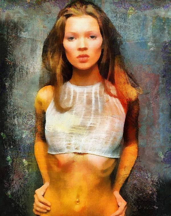 Kate Moss Poster featuring the painting Kate by Janice MacLellan