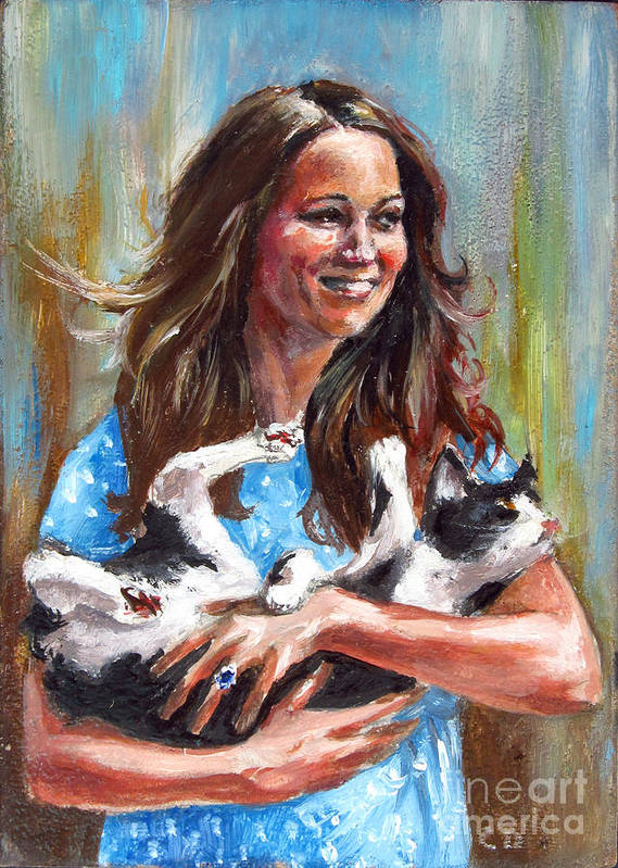 Funny Poster featuring the painting Kate Middleton Duchess Of Cambridge And Her Royal Baby Cat by Daniel Cristian Chiriac