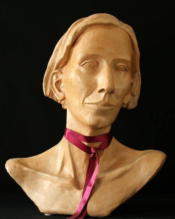 Portrait Sculpture Poster featuring the sculpture Katherine by Flow Fitzgerald