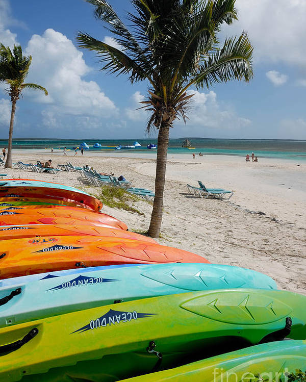 Bahamas Poster featuring the photograph Kayaks On The Beach by Amy Cicconi