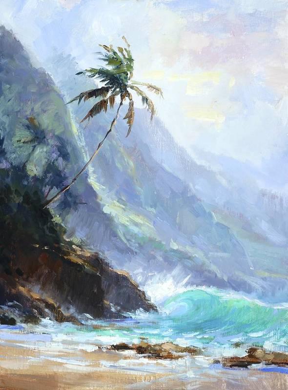 Beach Poster featuring the painting Ke'e Beach by Jenifer Prince