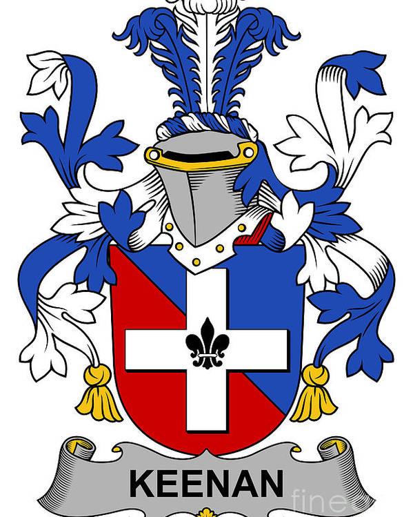 Keenan Poster featuring the digital art Keenan Coat Of Arms Irish by Heraldry