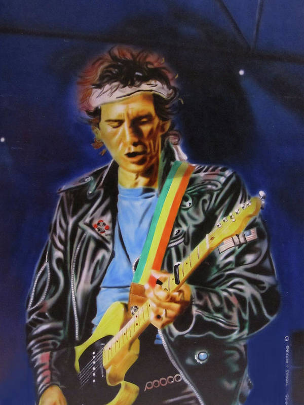 Celebrities Poster featuring the painting Keith Richards Of Rolling Stones by Thomas J Herring