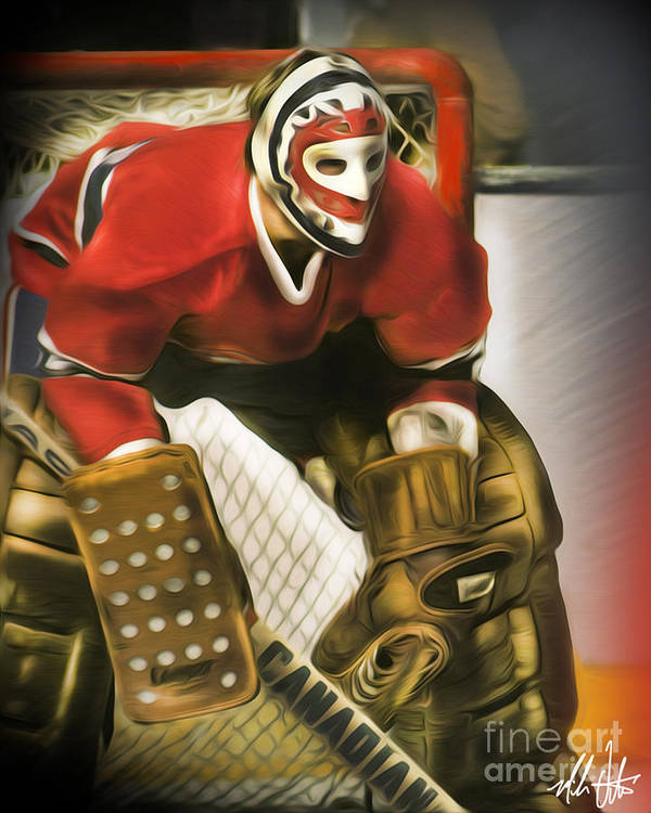 Ken Dryden Poster featuring the painting Ken Dryden by Mike Oulton